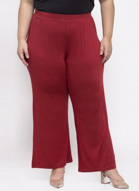 PlusS Women Red Solid Flared Palazzos