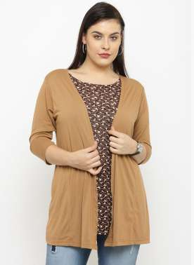 PlusS Brown Printed Semi-Sheer Shrug T-shirt