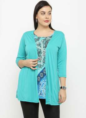 PlusS Turquise Printed Semi-Sheer Shrug T-shirt