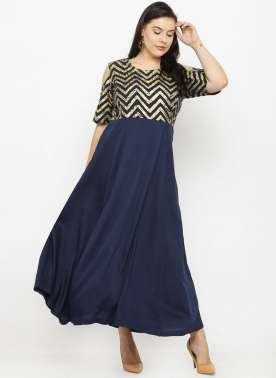 PlusS Women Navy Printed Straight Dress