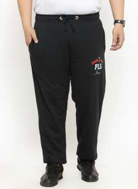 plusS Men Black Track Pants