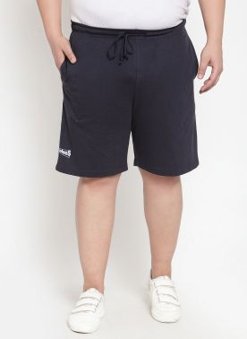 plusS Men Navy Solid Regular Fit Shorts