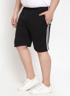 plusS Men Black Solid Regular Fit Shorts