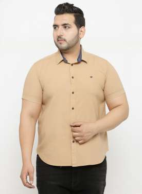 PlusS Men Beige Regular Fit Solid Casual Shirt