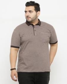 plusS Men Brown Striped Polo Collar T-shirt