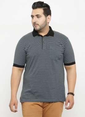 plusS Men Grey Striped Polo Collar T-shirt