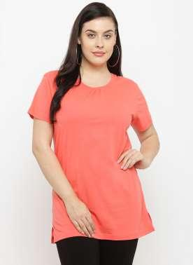plusS Women Orange Solid Round Neck T-shirt