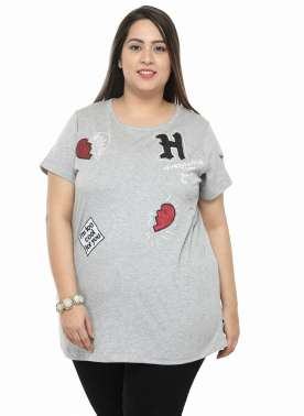 plusS Women Grey Solid Embellished Top