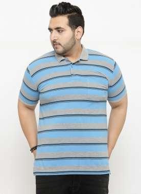 plusS Men Blue Striped Polo Collar T-shirt
