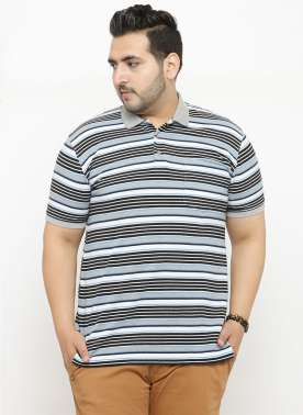 plusS Men Grey Striped Polo Collar T-shirt