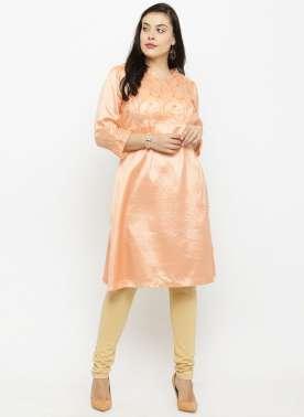 plusS Women Peach-Coloured Printed A-Line Kurta