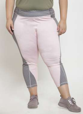 plusS Women Grey & Pink Colourblocked Regular Fit Capris