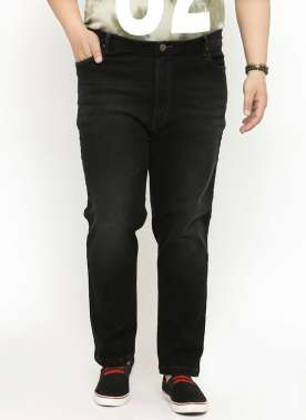 Men Black Regular Fit High-Rise Clean Look Jeans