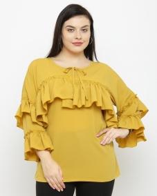 plusS Women Mustard Solid Top