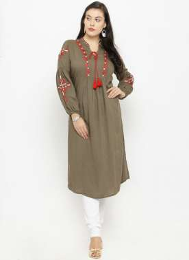 plusS Women Olive Green Printed A-Line Kurta