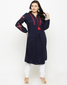 plusS Women Navy Blue Woven Design A-Line Kurta