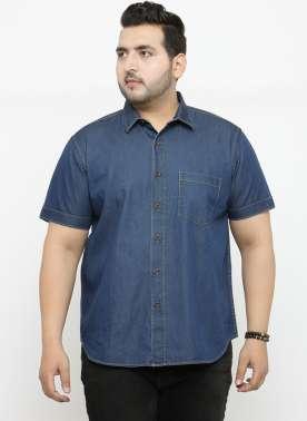 plusS Men Blue Comfort Regular Fit Solid Denim Casual Shirt