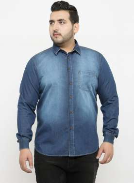 plusS Men Blue Comfort Regular Fit Faded Denim Casual Shirt