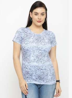 plusS Women Blue Printed Round Neck T-shirt