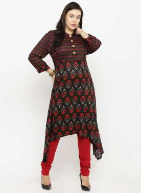 plusS Women Navy Blue Printed A-Line Kurta