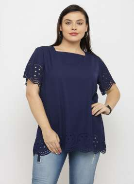 plusS Women Navy Blue Solid A-Line Top