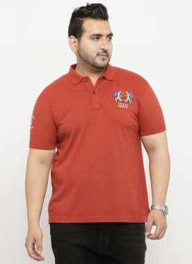 plusS Men Rust Solid Polo Collar T-shirt