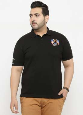 plusS Men Black Solid Polo Collar T-shirt