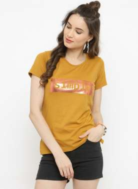 plusS Women Mustard Printed Round Neck T-shirt
