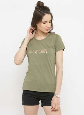 plusS Women Olive Green Printed Round Neck T-shirt