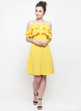 plusS Women Yellow Solid A-Line Dress