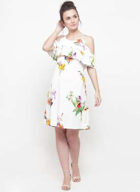 plusS Women White Printed A-Line Dress