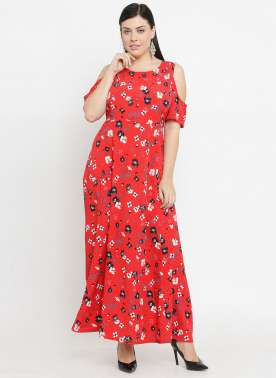 plusS Women Red & White Printed Maxi Dress