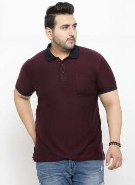 plusS Men Red Striped Polo Collar T-shirt