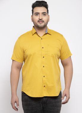 plusS Men Yellow Comfort Fit Solid Casual Shirt