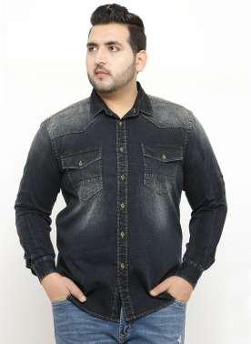 plusS Men Black Comfort Regular Fit Faded Denim Casual Shirt