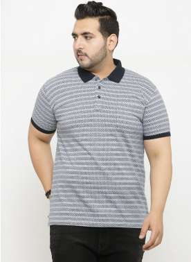 plusS Men Grey Printed Polo Collar T-shirt