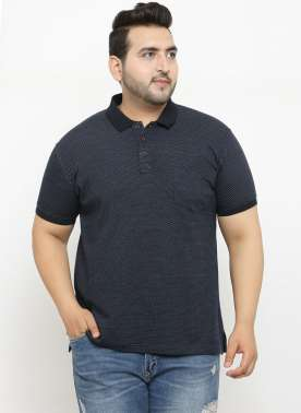 plusS Men Navy Blue Printed Polo Collar T-shirt