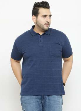 plusS Men Blue Striped Polo Collar T-shirt