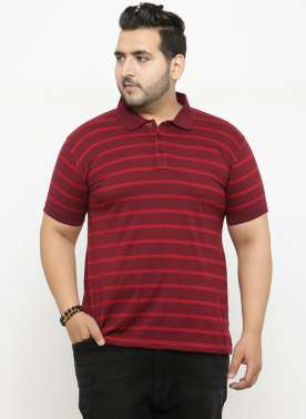 plusS Men Red Striped Polo Collar T-shirt
