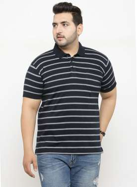 plusS Men Navy Blue & White Striped Polo Collar T-shirt