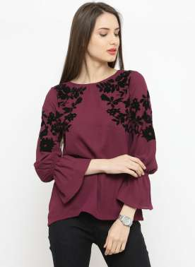 plusS Women Burgundy Printed A-Line Top