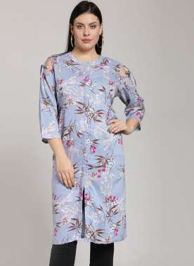 PlusS Sky Blue Printed Tunic