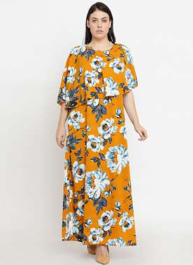 plusS Women Mustard Printed Maxi Dress