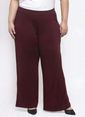 plusS Women Maroon Solid Wide Leg Palazzos