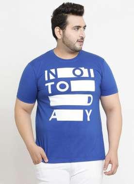 plusS Men Blue Printed Round Neck T-Shirt