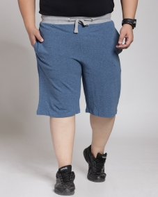 plusS Men Navy Solid Regular Fit Sports Shorts