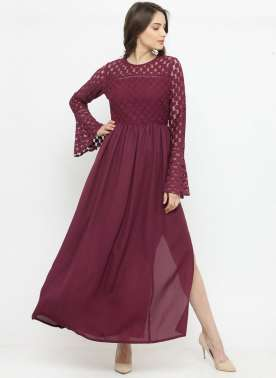 plusS Women Burgundy Self Design Maxi Dress