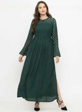 plusS Women Green Self Design Maxi Dress