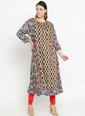 plusS Women Multicoloured Printed A-Line Kurta