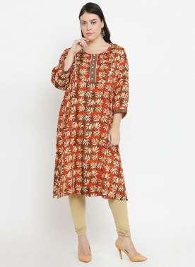 plusS Women Rust & Cream-Coloured Printed A-Line Kurta